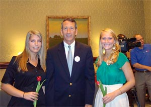 Photo of Shannon Parry, Governor Sanford, and Sarah Crook at SC State House