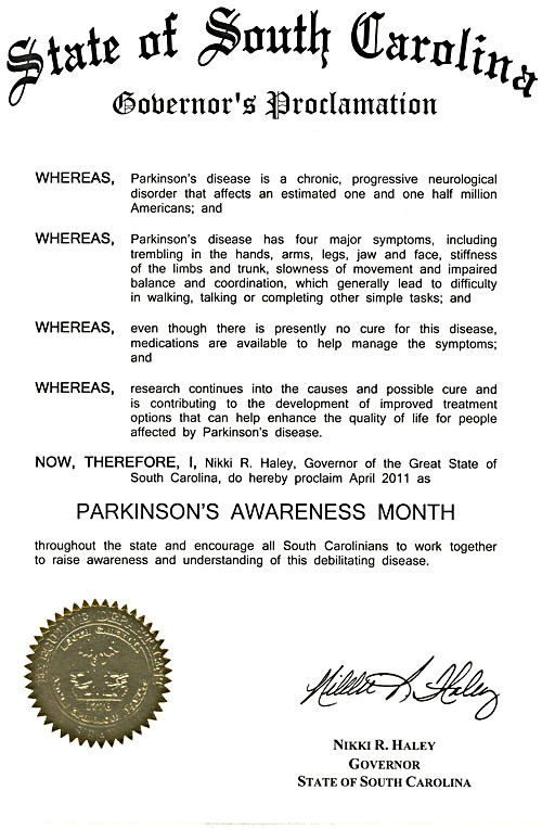 Image of 2011 SC Governor's Proclamation of Parkinson's Awareness Month