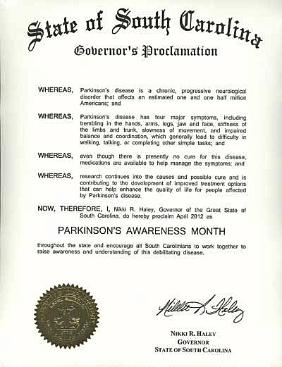 2012 SC Parkinson Awareness Proclamation