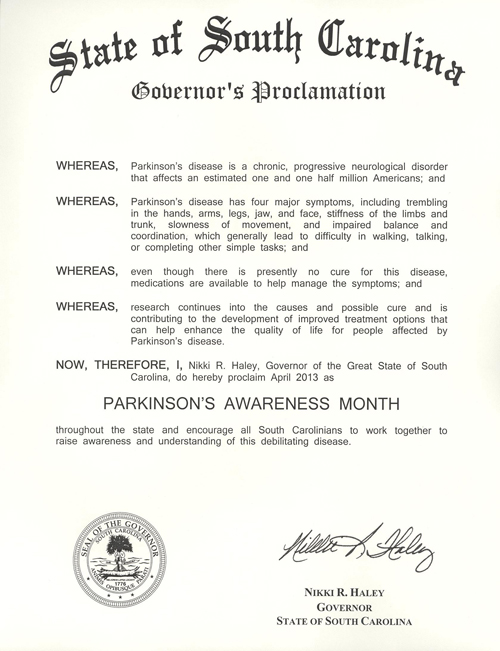 2013 SC Governor's Proclamation for Month of April is Parkinson's Awareness Month