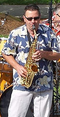 Photo of Bob Michalski playing his saxaphone