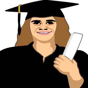Cartoon image of woman graduate
